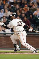 17 April 2009: San Francisco Giants' third base Pablo Sandoval singles during the San Francisco Giants' 2-0 win against the Arizona Diamondbacks at AT&T Park in San Francisco, CA.