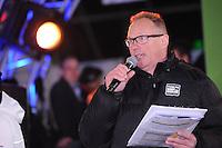 SCHAATSEN: AMSTERDAM: Olympisch Stadion, 28-02-2014, KPN NK Sprint/Allround, Coolste Baan van Nederland, Geert Kuiper (speaker), ©foto Martin de Jong