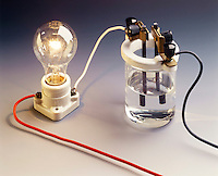 CONDUCTIVITY TEST - Sodium Chloride Solution<br /> (1 of 3 - Variations Available)<br /> Strong electrolytes dissociate (ionize) entirely into ions in solution, providing many current carriers. The ions move toward the oppositely charged electrode giving up their charge. The bulb glows brightly. 1M NaCl(aq) is a strong electrolyte.