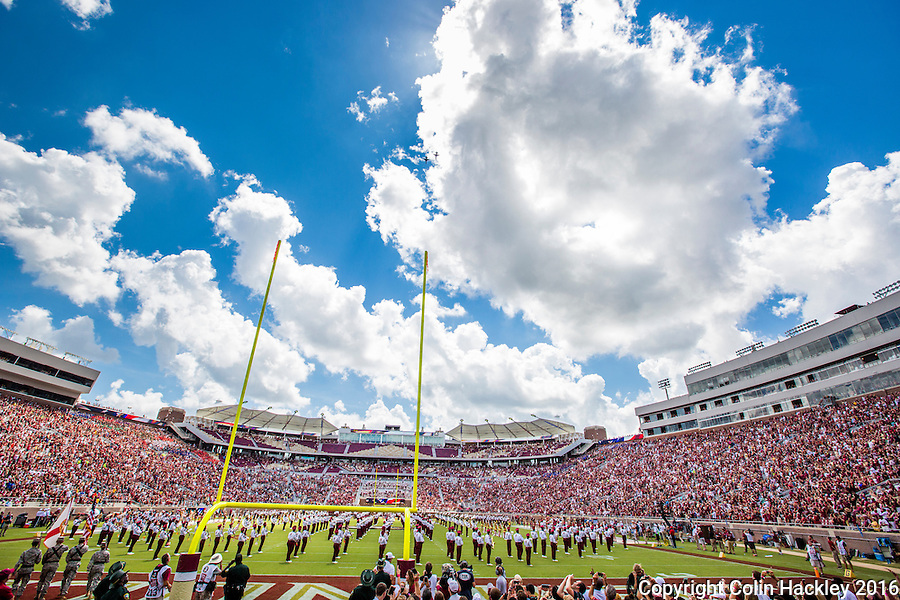 TALLAHASSEE, FLA 9/10/16-T-38 fighters fly over Doak Campbell Stadium before Florida State's home opener against Charleston Southern Saturday at  in Tallahassee. <br /> COLIN HACKLEY PHOTO