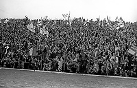 Big turn-out of N Ireland supporters at Windsor Park for the match against Iceland on 21st September 1977. 197709210179g<br /> <br /> Copyright Image from Victor Patterson, 54 Dorchester Park, Belfast, UK, BT9 6RJ<br /> <br /> t1: +44 28 9066 1296 (from Rep of Ireland 048 9066 1296)<br /> t2: +44 28 9002 2446 (from Rep of Ireland 048 9002 2446)<br /> m: +44 7802 353836<br /> <br /> e1: victorpatterson@me.com<br /> e2: victorpatterson@gmail.com<br /> <br /> The use of my copyright images is subject to my Terms &amp; Conditions.<br /> <br /> It is IMPORTANT that you familiarise yourself with them. They are available on my website at www.victorpatterson.com.<br /> <br /> None of my copyright images may be used on a website unless they are visibly watermarked, i.e. &copy; Victor Patterson within the body of the visible image. Metadata denoting my copyright must NOT be deleted. <br /> <br /> Web use is extra at currently recommended NUJ rates.