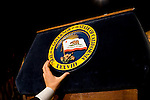 The podium is prepared for California Governor Arnold Schwarzenegger during a GOP victory party at the Beverly Hilton in Beverly Hills, CA on Tuesday, November 7, 2006.