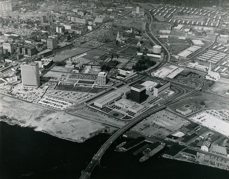 1967 May 10..Redevelopment.Downtown South (R-9)..View of downtown.Civic Center Complex.Financial District.VNB Building under construction..Sam McKay.NEG# .NRHA#..