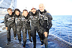 Onboard l'Hydroptère DCNS Alain Thébault and his crew (Yves Parlier, Jean le Cam, Jacques Vincent, Luc Alphand)  during the first series of trials on the Med before trying to beat the Pacific crossing record between Los Angeles and Honolulu next summer. La Ciotat in the Bouches-du-Rhône, Provence-Alpes-Côte d'Azur, France.