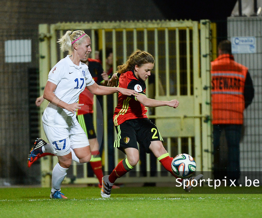 20160412 - LEUVEN ,  BELGIUM : Belgian Davina Philtjens (R) and Estonian Eneli Vals (L) pictured during the female soccer game between the Belgian Red Flames and Estonia , the fifth game in the qualification for the European Championship in The Netherlands 2017  , Tuesday 12 th April 2016 at Stadion Den Dreef  in Leuven , Belgium. PHOTO SPORTPIX.BE / DIRK VUYLSTEKE