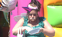 BECKY DURING THE 'PARTY ANIMALS' TASK.in Big Brother, Day 50.half length green dress hat food dirty messy funny eating .*Filmstill - Editorial Use Only*.CAP/NFS.Supplied by Capital Pictures.