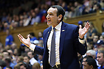 30 October 2015: Duke head coach Mike Krzyzewski. The Duke University Blue Devils hosted the Florida Southern College Moccasins at Cameron Indoor Stadium in Durham, North Carolina in a 2015-16 NCAA Men's Basketball Exhibition game. Duke won the game 112-68.