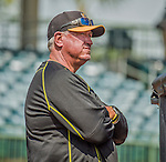 22 March 2015: Pittsburgh Pirates Manager Clint Hurdle watches batting practice prior to a Spring Training game against the Houston Astros at Osceola County Stadium in Kissimmee, Florida. The Astros defeated the Pirates 14-2 in Grapefruit League play. Mandatory Credit: Ed Wolfstein Photo *** RAW (NEF) Image File Available ***