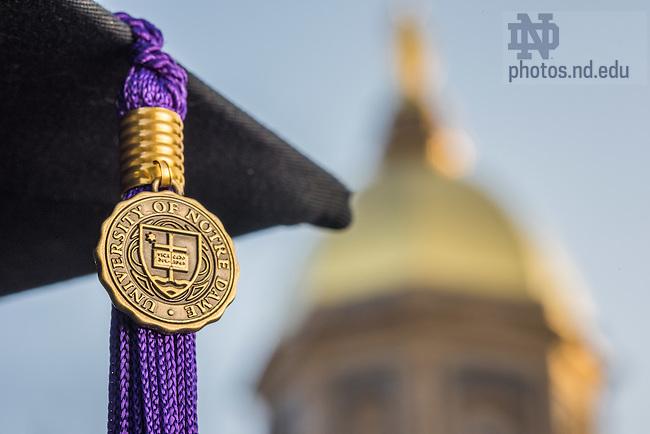 May 13, 2015; Graduation cap and tassel, purple represents Law (Photo by Matt Cashore/University of Notre Dame)
