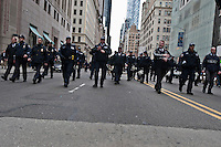 NYPD Officers block the street during a protest against  Republican Presidential candidate Donald Trump in New York City 13.19.2016. Joana Toro/VIEWpress.