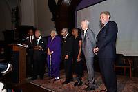 NEW YORK, NY - APRIL 3: Hon. David N. Dinkins, Harry Belafonte, John McEnroe, Randy Levine, Charles B. Rangel, Chirlane McCray, Dr. Phyllis Harrison-Ross pictured as David N. Dinkins, 106th Mayor of the City of New York, receives the Dr. Phyllis Harrison-Ross Public Service Award for a lifetime of public service at the New York Society of Ethical Culture in New York City on April 3, 2014. Credit: Margot Jordan/MediaPunch