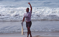 Sunny Garcia (HAW) after winning the 1995 Quiksilver Pro France at the Grand Plage, Biarritz in the South West of France . Photo: joliphotos.com
