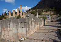 DELPHI, GREECE - APRIL 12 : A panoramic view of the Polygonal Wall with the Sacred Way on the right and the Temple of Apollo in the background, on April 12, 2007 in the Sanctuary of Apollo, Delphi, Greece. The impressive wall was built in the 6th century BC as a retaining wall to hold back the earth of the terrace on which the second temple was founded. (Photo by Manuel Cohen)
