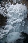 Frozen waterfall in Johnston Canyon in Canada