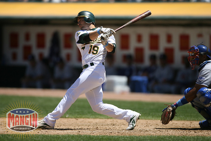 Athletics batter Marco Scutaro in action during the Los Angeles Dodgers vs Oakland Athletics game at McAfee Coliseum in Oakland, CA on June 18, 2006. Photo by Brad Mangin.