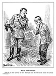 """Poor Propaganda. """"What do you mean by letting that out? Don't you realize that I'm the only member of my family in Germany?"""" (Hitler holds a declaration: '""""Germans must be proud that probably every family will have the honour of sacrificing a member to win the final victory."""" [Latest News: Munich]' as Goebbels looks on embarrassed)"""
