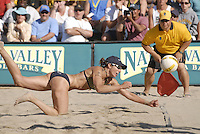 Huntington Beach, CA - 5/6/07:  Elaine Youngs dives for the ball during Branagh / Youngs' 21-13, 21-13 loss to May-Treanor / Walsh in the championship match of the AVP Cuervo Gold Crown Huntington Beach Open of the 2007 AVP Crocs Tour..Photo by Carlos Delgado