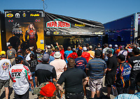 Apr 21, 2017; Baytown, TX, USA; Pit area of NHRA top fuel driver Leah Pritchett surrounded with fans during qualifying for the Springnationals at Royal Purple Raceway. Mandatory Credit: Mark J. Rebilas-USA TODAY Sports