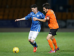 St Johnstone v Dundee Utd..10.11.15  SPFL Development League.  McDiarmid Park, Perth.<br /> Eoghan McCawl holds off Brad Smith<br /> Picture by Graeme Hart.<br /> Copyright Perthshire Picture Agency<br /> Tel: 01738 623350  Mobile: 07990 594431