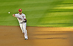 11 October 2012: Washington Nationals shortstop Ian Desmond gets the first out of Postseason Playoff Game 4 of the National League Divisional Series against the St. Louis Cardinals at Nationals Park in Washington, DC. The Nationals defeated the Cardinals 2-1 on a 9th inning, walk-off solo home run by Jayson Werth, tying the Series at 2 games apiece. Mandatory Credit: Ed Wolfstein Photo