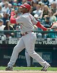 Cincinnati Reds' Ken Griffey Jr. watches his first inning at bat home run to left field against Seattle Mariners' Miguel Batista at Safeco Field in Seattle on June 24, 2007. Jim Bryant Photo. ©2010. ALL RIGHTS RESERVED.