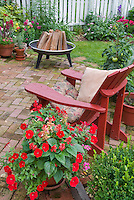 Cooking Fire in Backyard with brick patio, Adirondack chair, plants and flowers, red  petunias and hot colored salvia, tomatoes in pot containers
