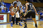 05 November 2015: Duke's Kyra Lambert (15) and Pfeiffer's Dajea Scott (11). The Duke University Blue Devils hosted the Pfeiffer University Falcons at Cameron Indoor Stadium in Durham, North Carolina in a 2015-16 NCAA Women's Basketball Exhibition game. Duke won the game 113-36.