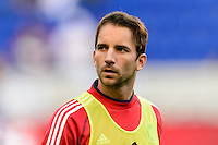 Mike Magee (9) of the Chicago Fire during warmups prior to playing the New York Red Bulls during a Major League Soccer (MLS) match at Red Bull Arena in Harrison, NJ, on October 27, 2013.