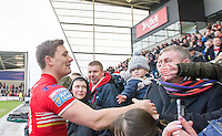 Picture by Allan McKenzie/SWpix.com - 04/03/2017 - Rugby League - Betfred Super League - Salford Red Devils v Warrington Wolves - AJ Bell Stadium, Salford, England - Salford's Kriss Brining celebrates with the fans after victory over Warrington.