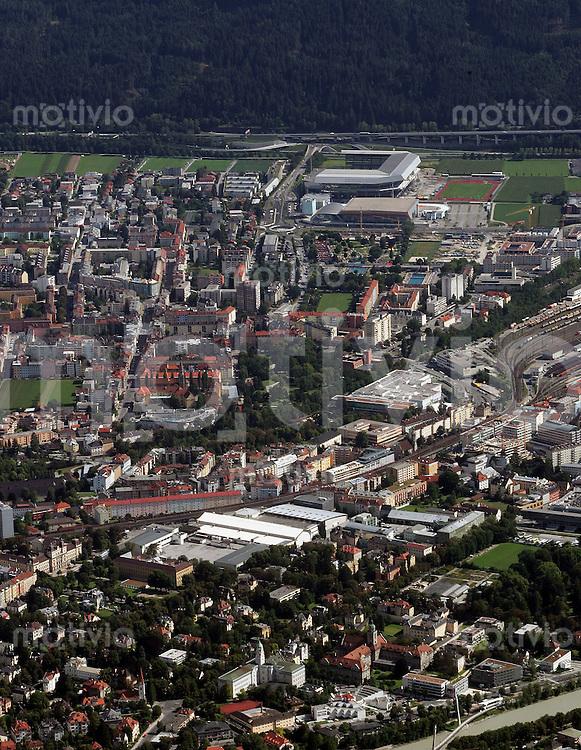 FEATURE, Fussball EM 2008, Vorschau, Innsbruck, 06.08.2007,Uebersicht der Stadt Innsbruck mit dem Tivoli Stadion hinten rechts, /Schaadfoto/Andreas Schaad PUBLICATION NOT IN AUT