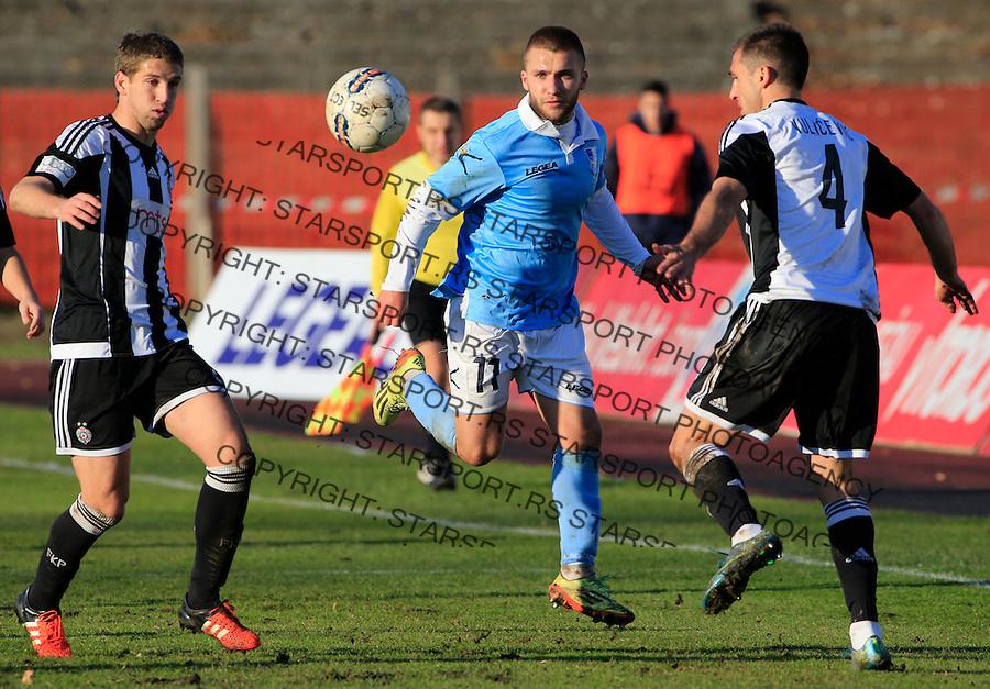 Fudbal Jelen Super League season 2015-2016<br /> Spartak v Partizan<br /> Stefan Milosevic (C) Miroslav Vulicevic and Darko Brasanac (L)<br /> Subotica, 29.11.2015.<br /> foto: Srdjan Stevanovic/Starsportphoto&copy;