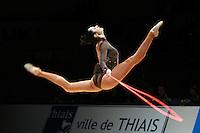 Anna Bessonova of Ukraine split leaps with rope at 2007 Thiais Grand Prix near Paris, France on March 24, 2007.