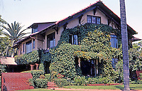 Irving Gill: NOT!  Charles W. Fox House, 3100 Brant St. , San Diego, 1908. Actually by Gill's partner, William S. Hebbard. Craftsman/ Prairie style