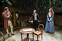 London, UK. 21.11.2013.  LIZZIE SIDDAL, a new play by Jeremy Green, opens at the Arcola Theatre. Picture shows: Tom Bateman (Dante Gabriel Rosetti), Daniel Crossley (John Ruskin) and Emma West (Lizzie Siddal). Photograph © Jane Hobson.