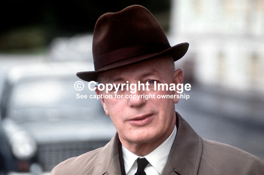 Joshua Cardwell, aka Joss Cardwell, MP, Ulster Unionist, N Ireland Parliament, Belfast, July 1970, 197007000274a<br />