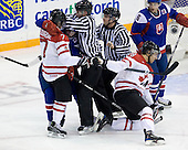 Gabriel Bourque (Canada - 7), ?, Patrice Cormier (Canada - 28), Maros Grosaft (Slovakia - 6) - Team Canada defeated Team Slovakia 8-2 on Tuesday, December 29, 2009, at the Credit Union Centre in Saskatoon, Saskatchewan, during the 2010 World Juniors tournament.