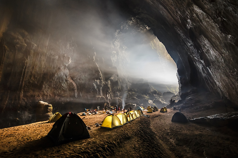 The first camp in Son Doong Cave. Located near the first doline, or hole in the ceiling, the first camp has a bit of natural light even though it is several kilometers in the cave. Depending on the temperature differential from outside and inside the cave, clouds can form near camp.