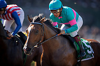 ARCADIA, CA - MARCH 11: Gormley #5, with Victor Espinoza jockey for position in the San Felipe Stakes at Santa Anita Park  on March 11, 2017 in Arcadia, California. (Photo by Alex Evers/Eclipse Sportswire/Getty Images)