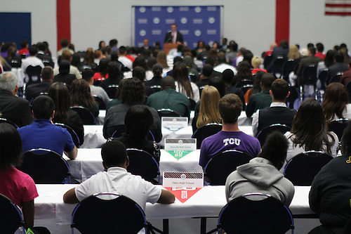 Approximately 200 students listened to inspirational words about completing college from HISD Superintendent Terry Grier.