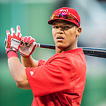 13 October 2016: Washington Nationals catcher Pedro Severino awaits his turn in the batting cage prior to Game 5 of the NLDS against the Los Angeles Dodgers at Nationals Park in Washington, DC. The Dodgers edged out the Nationals 4-3, to take Game 5 of the Series, 3 games to 2, and move on to the National League Championship Series against the Chicago Cubs. Mandatory Credit: Ed Wolfstein Photo *** RAW (NEF) Image File Available ***