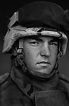 PFC Christopher Bass, 20, Reno, Nevada, Weapons Platoon, Kilo Co., 3rd Battalion 1st Marines, United States Marine Corps, at the company's firm base in Haditha, Iraq on Sunday Oct. 22, 2005.
