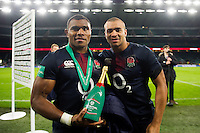 Semesa Rokoduguni and Jonathan Joseph of England pose for a photo after the match. Old Mutual Wealth Series International match between England and Fiji on November 19, 2016 at Twickenham Stadium in London, England. Photo by: Patrick Khachfe / Onside Images