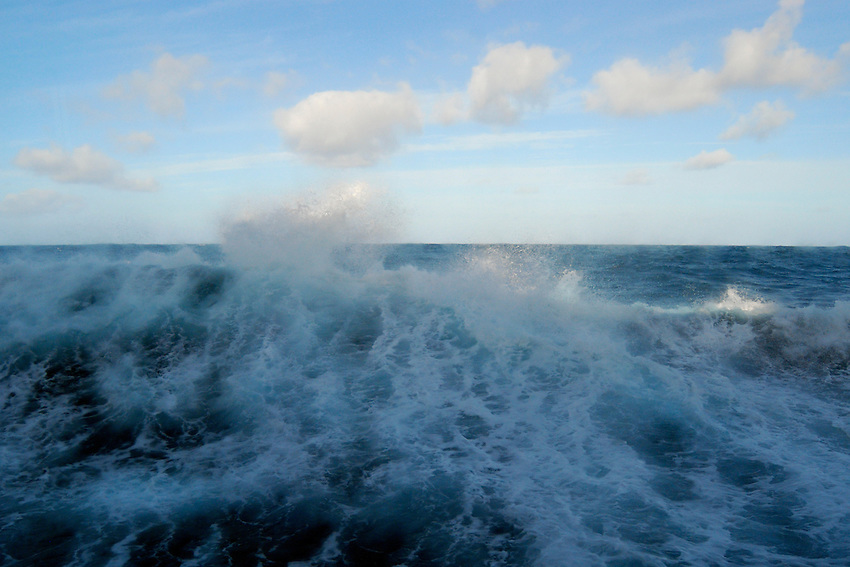 Icy Wake - Wake from the MV Orion meeting the swell in the Southern Ocean on the way to the Antarctic
