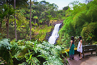 woman tourists visiting Kulaniapia Falls, tropical rainforest jungle, Hilo, Big Island, Hawaii, USA, Model Released - MR#: 000102, 000103