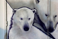 Detail of fresco of Polar Bears on the facade of the Maison des Enfants (Children's Building), Parc Zoologique de Paris, or Zoo de Vincennes, (Zoological Gardens of Paris, also known as Vincennes Zoo), 1934, by Charles Letrosne, 12th arrondissement, Paris, France, pictured on April 25, 2011 in the afternoon. In November 2008 the 15 hectare Zoo, part of the Museum National d'Histoire Naturelle (National Museum of Natural History) closed its doors to the public and renovation works will start in September 2011. The Zoo is scheduled to re-open in April 2014. Picture by Manuel Cohen.