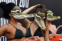 PETA demonstration at London Fashion Week.<br /> A trio of nearly naked models dressed in little more than lingerie and crocodile masks crash the first day of London Fashion Week, brandishing signs proclaiming, Cruelty to Crocodiles Unmasked and Animals Die for Exotic Skins. The action follows a recent PETA (People for the Ethical Treatment of Animals) expos&eacute; of crocodile farms in Vietnam including two that have supplied skins to a tannery owned by Louis Vuitton's parent company, LVMH which revealed that the animals are confined to tiny pits and sometimes hacked apart while they're still alive and thrashing, at 180 The Strand, London, England February 17, 2017.<br /> CAP/JOR<br /> &copy;JOR/Capital Pictures /MediaPunch ***NORTH AND SOUTH AMERICAS ONLY***