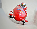 5 January 2008: NHRA Top Fuel competitor Morgan Lucas exits Turn 19 at the NASCAR vs NHRA Bobsled Elimination Challenge at the Olympic Sports Complex on Mount Van Hoevenberg, in Lake Placid, New York...Mandatory Photo Credit: Ed Wolfstein Photo