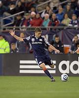 New England Revolution midfielder Chris Tierney (8) passes the ball. The New England Revolution defeated Toronto FC, 4-1, at Gillette Stadium on April 10, 2010.