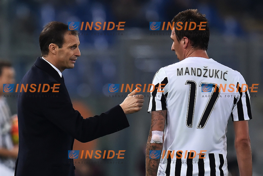 Massimiliano Allegri, Mario Mandzukic Juventus <br /> Roma 04-12-2015 Stadio Olimpico Football Calcio 2015/2016 Serie A Lazio - Juventus Foto Andrea Staccioli / Insidefoto