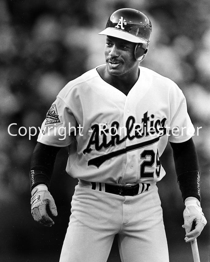 Oakland Athletics outfielder Ruben Sierra.<br />(1992 photo by Ron Riesterer)